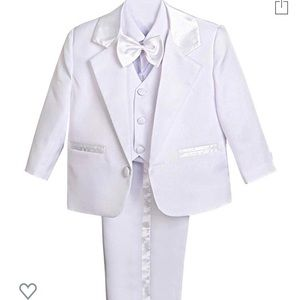 Baby Boy' 5 Pcs Set Formal White Tuxedo